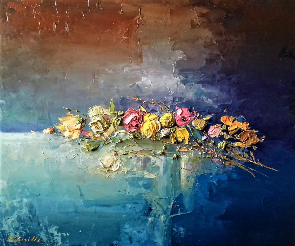 natura morta, dipinto ad olio di Davide Sigillò, tecnica a spatola
