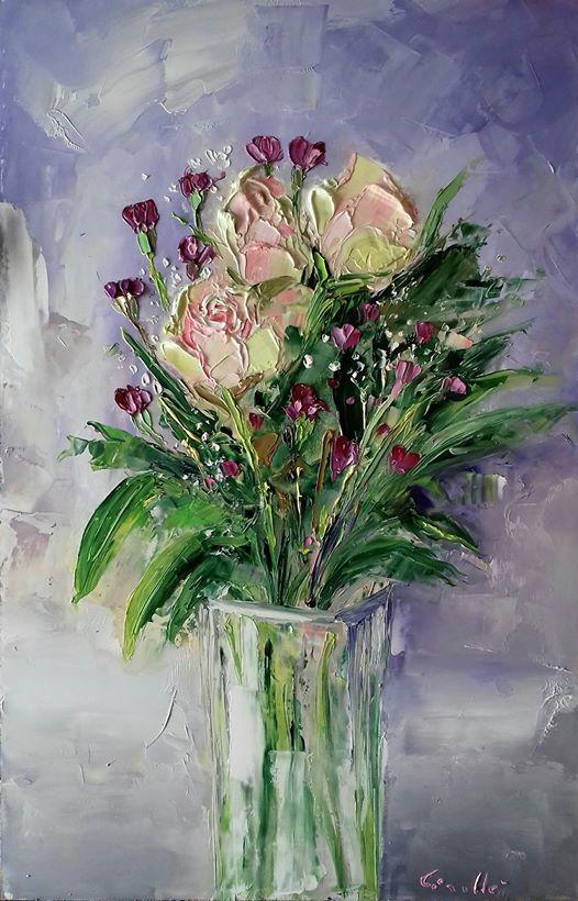 Vaso di fiori con rose davide sigill for Vasi di fiori dipinti