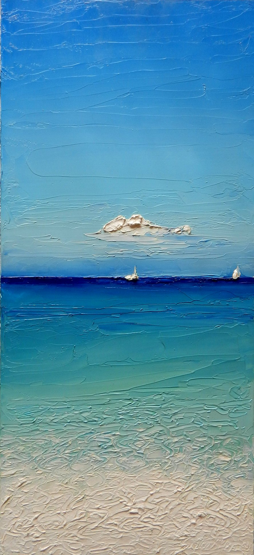 spesso Mare e nuvole - dipinto a spatola di Davide Sigillò LP33